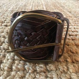 Eddie Bauer Brown Leather Woven Belt